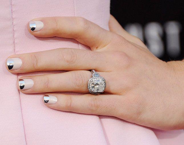 This metallic half moon mani is elegant and edgy. | Nails ...