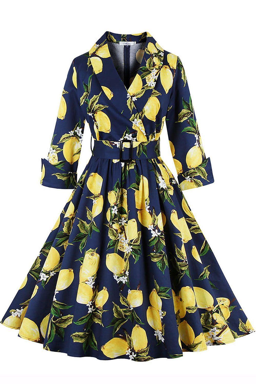 Yellow dress long sleeve  Lemon Printing  Long Sleeve Fashion Women Classy V Neck Swing