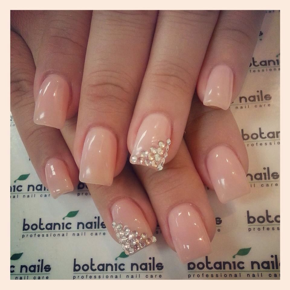 Beige nails with diamonds | nails | Pinterest | Beige nail, Diamond ...