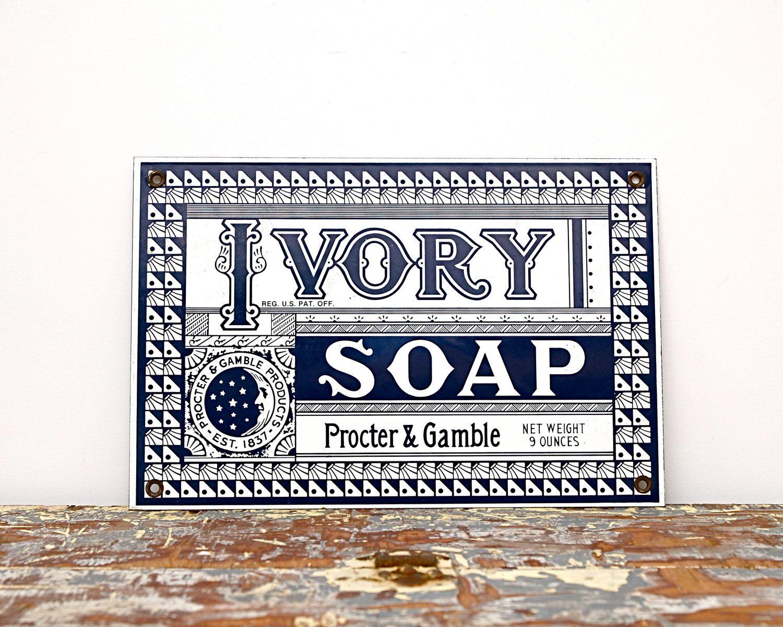 Vintage Advertising Sign Ivory Soap Shop Ad Sign Black