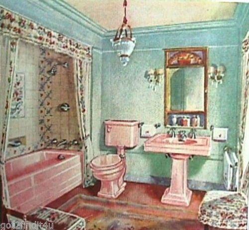 Crane Plumbing Bath Fixtures Sink Toilet Vintage 1930s Reprint Ad
