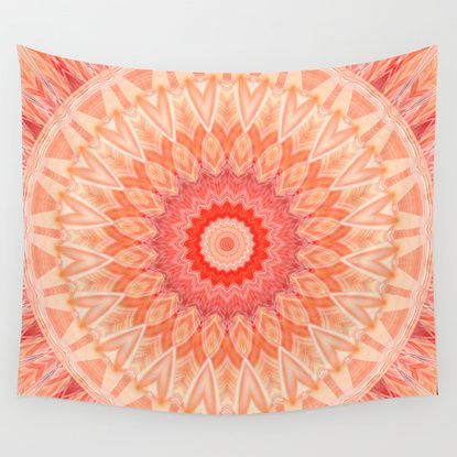 Mandala Soft Orange Wall Tapestry By Christine Baessler Tapestry Wall Tapestry Orange Walls