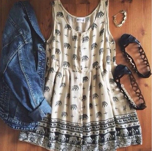 Dress Hipster Tumblr Outfit Cute Elephant Indie