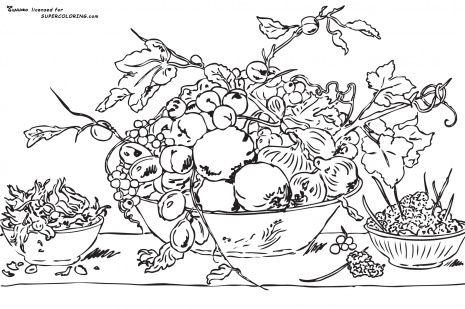 Fruits In A Bowl On A Red Tablecloth By Frans Snyders Coloring Pages Free Printable Coloring Pages Red Tablecloth