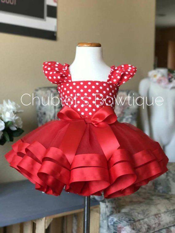 Minnie mouse inspired tutu outfit ,red tutu,polka dots dress,Disney inspired tutu,Birthday dress,cake smash outfit, ribbon trim tutu