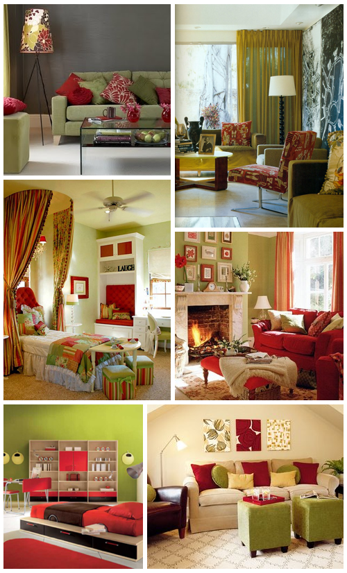 Red Living Room Color Schemes Red and Green Rooms
