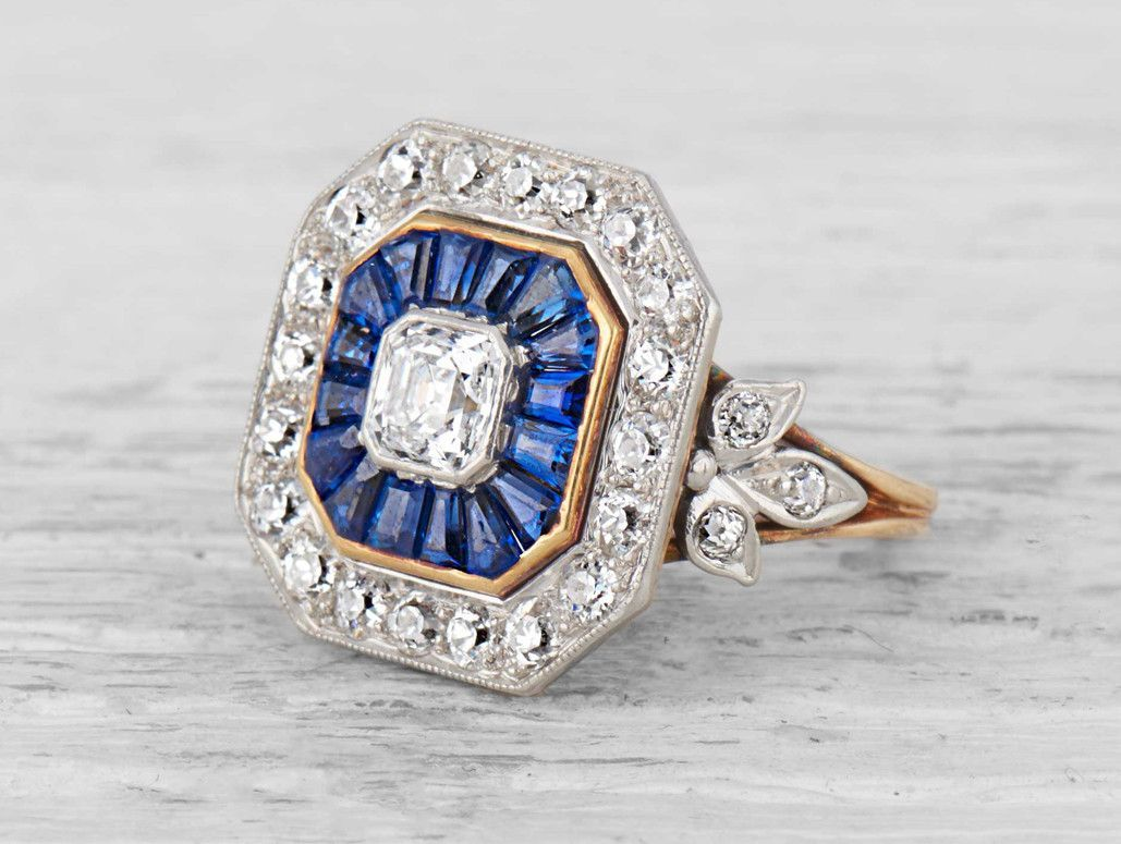 Tiffany Co Early Art Deco Diamond Sapphire Ring Vintage