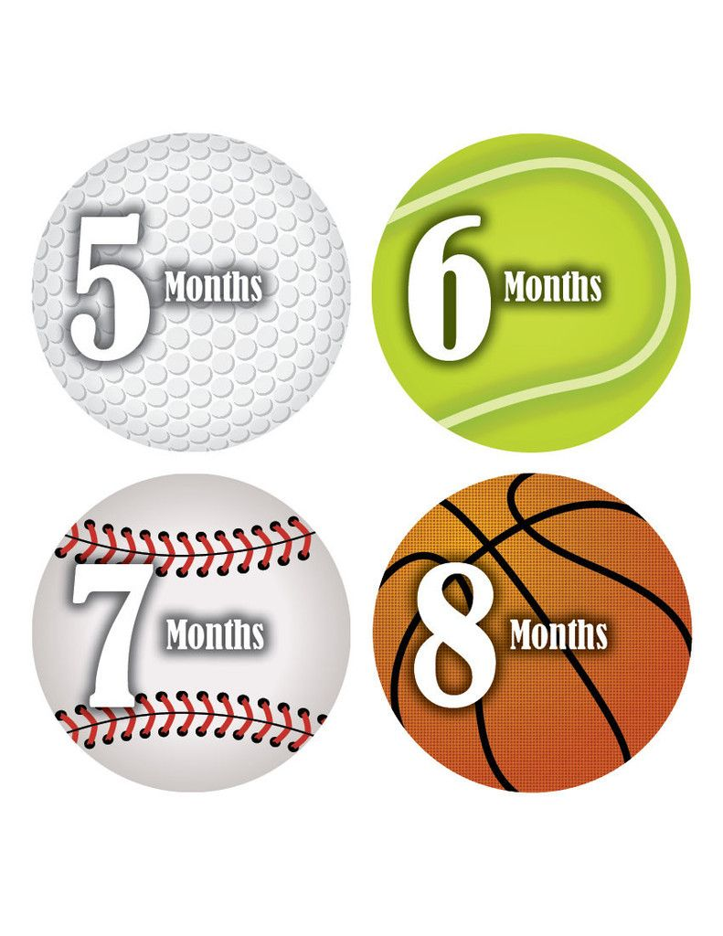 18 Month Stickers: Sports Monthly Baby Sticker