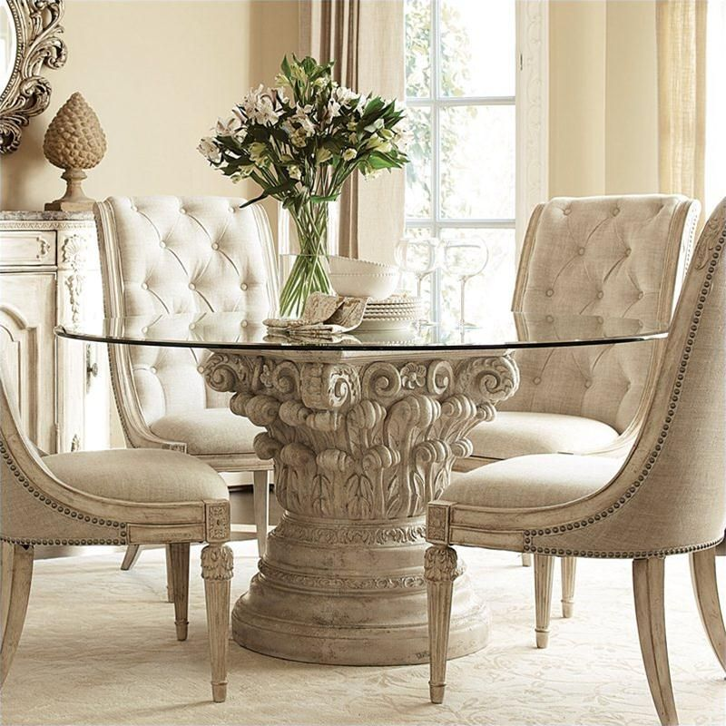 American Drew Jessica McClintock The Boutique Glass Top Round Dining Table In Pediment