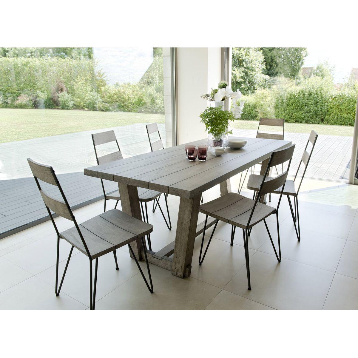 Salon De Jardin Teck Acier Table 200x90cm + 6 Chaises ...