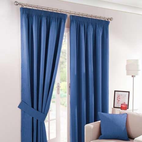 Solar Blue Blackout Pencil Pleat Curtains