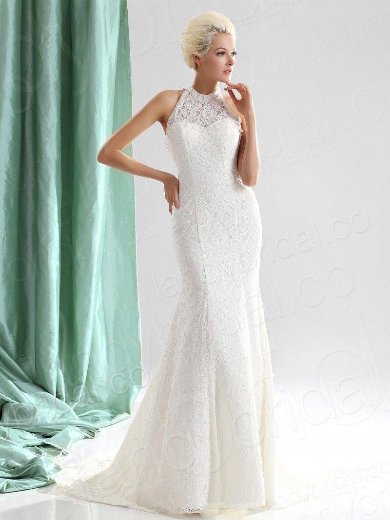Sheath Column Tank Top Court Train Lace Wedding Dress | Aesthetic ...