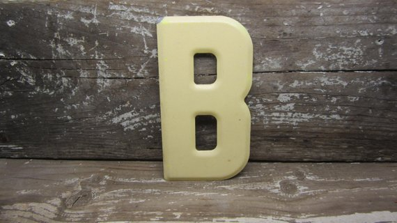 Metal Letter Sign Vintage Letter B Sign Small Size 5 1 2 Inch Yellow Marquee Sign Letter Sign Wall A Metal Letter Signs Metal Letters Vintage Lettering
