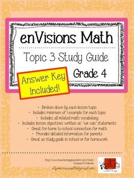 Envisions Topic 3 Study Guide Practice For Grade 4 Envision Math Math Study Guide Guided Practice