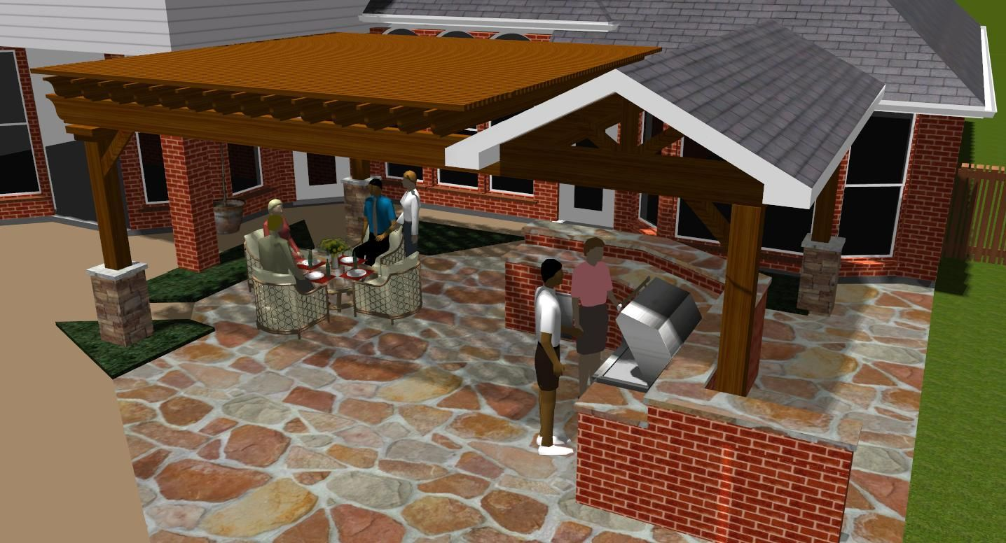 covered patios design rendering in colleyville tx for pergola and covered - Patio Cover Ideas Designs