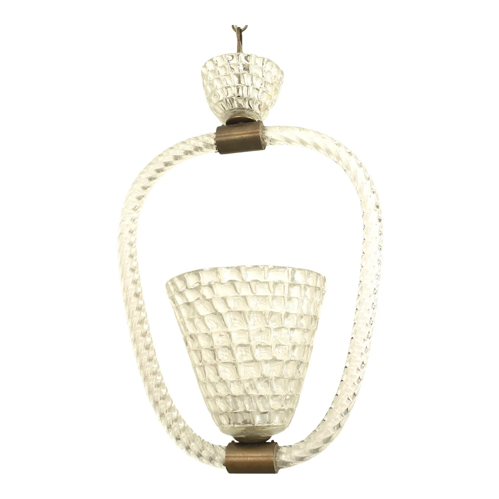 Italian 1940s Lantern With a Conical Shaped Form, by Barovier E Toso | Chairish