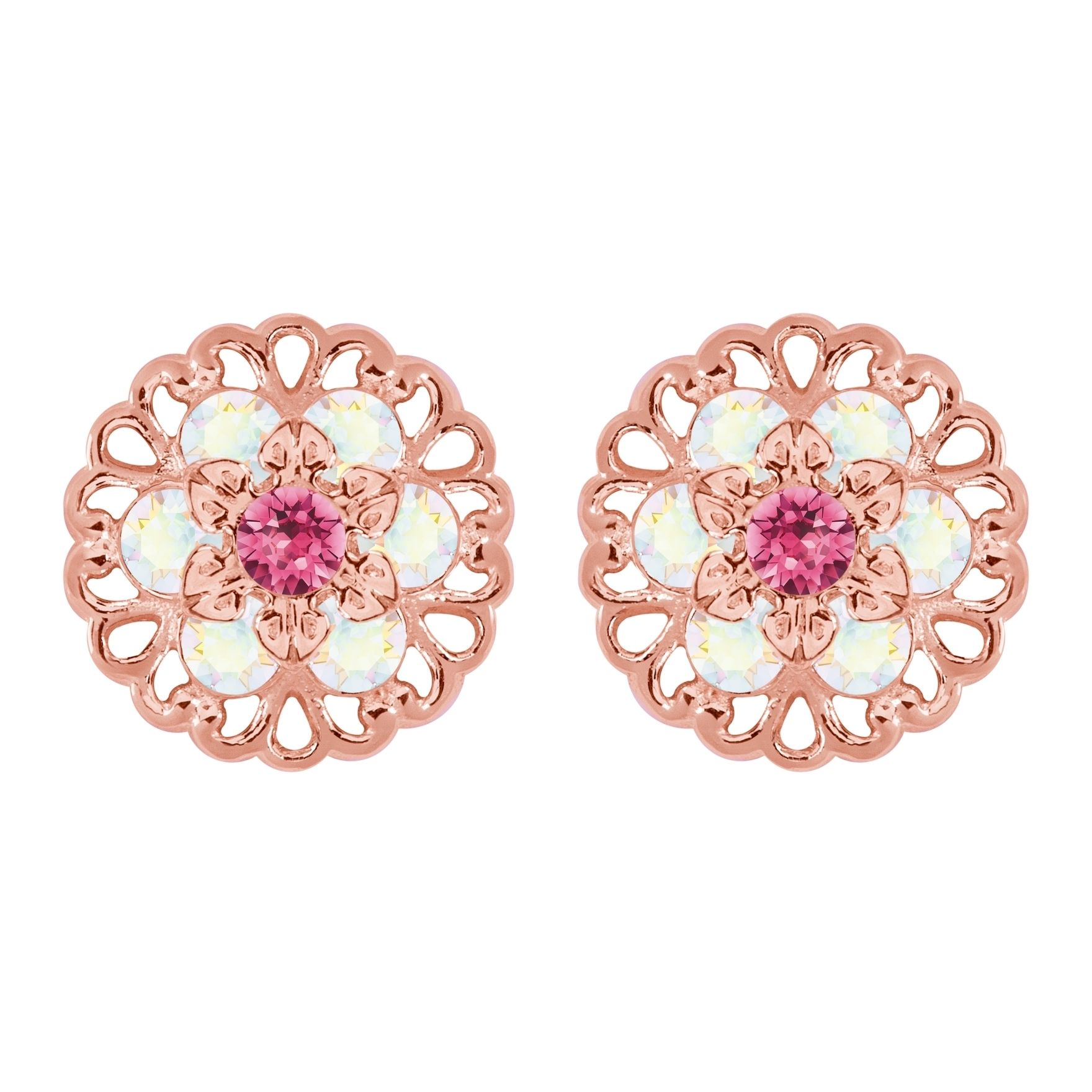 Lucia Costin Rose Goldplated Sterling Silver Pink/ White Earrings