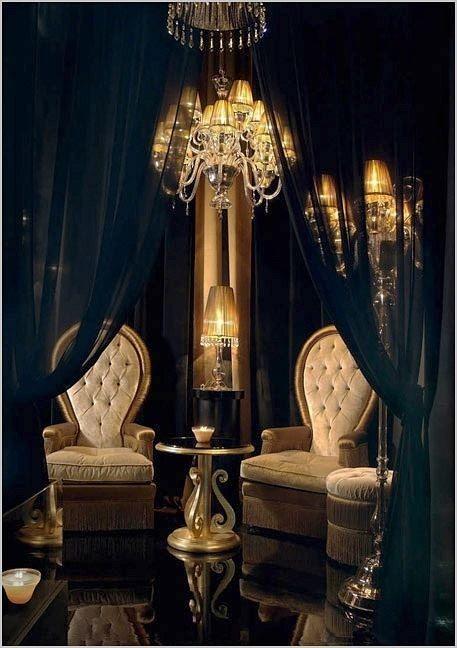 Interior Decor -- Black, Gold & White Living Room
