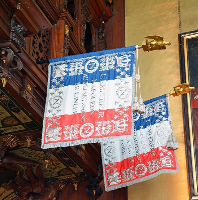 Modern replicas of the embroidered Napoleonic banners made for troops from…: