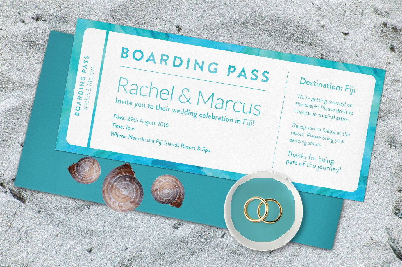 Destination wedding invitation. Ideal for a beach location, this ...