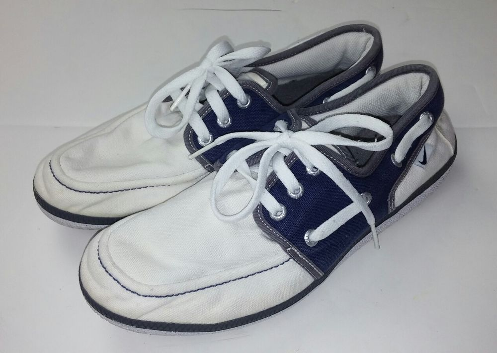 dd7321f910d4 Nike Women s Size 8.5 Shoes Loafers 429871-102 White Navy Blue Boat Dock  Canvas  Nike  Loafers  Casual