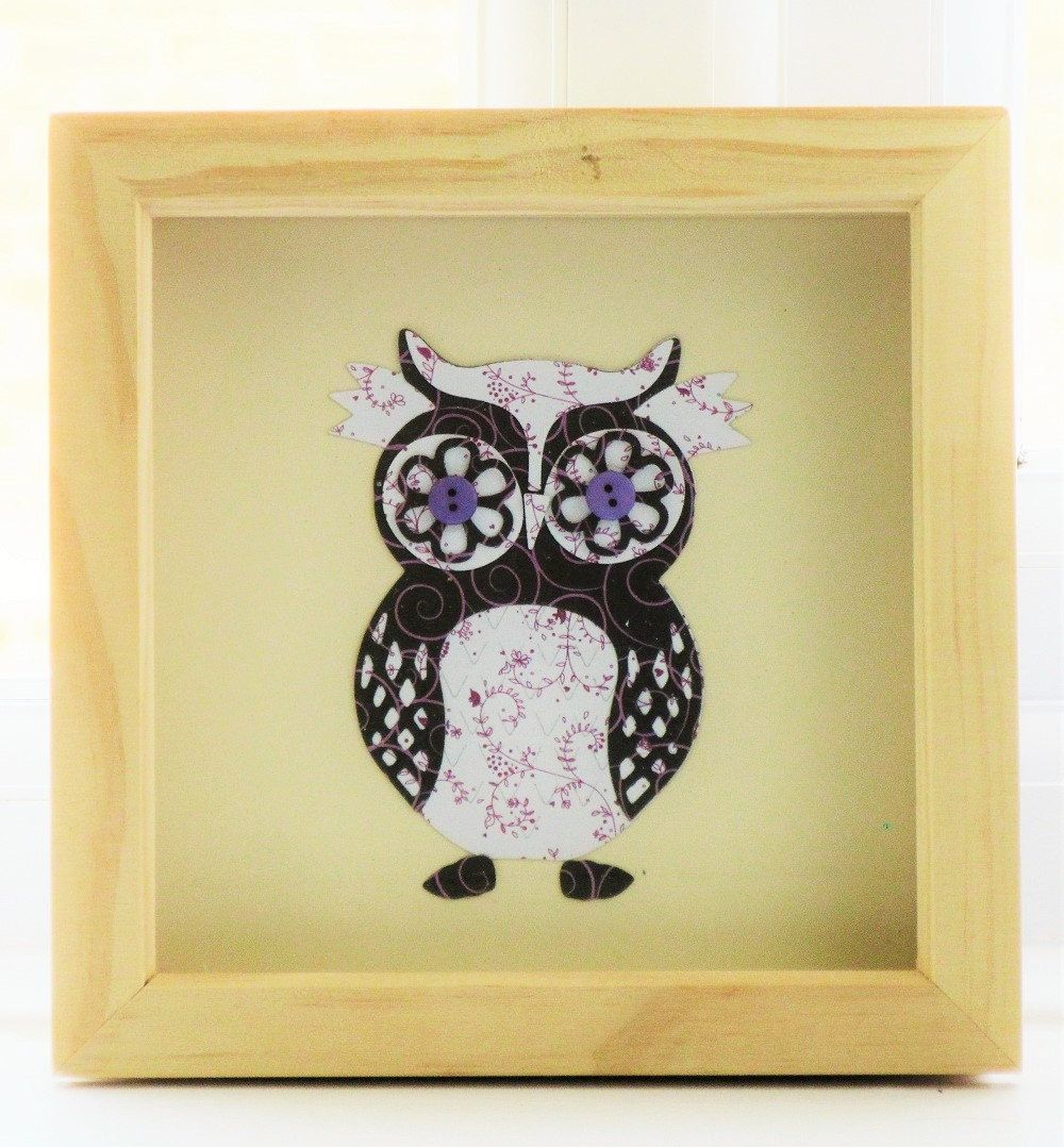 owl picture for a box frame / cute owl wall art / owl art / ideal ...