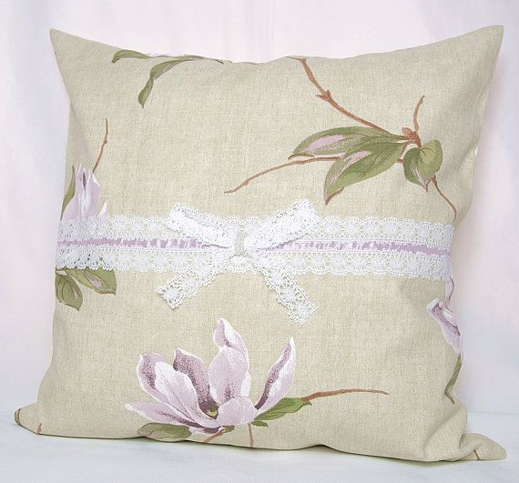 Country Style Cream Lilac Lavender  Green Floral Orchids Print Decorative Pillow Case , Cushion Cover. $20.00, via Etsy.