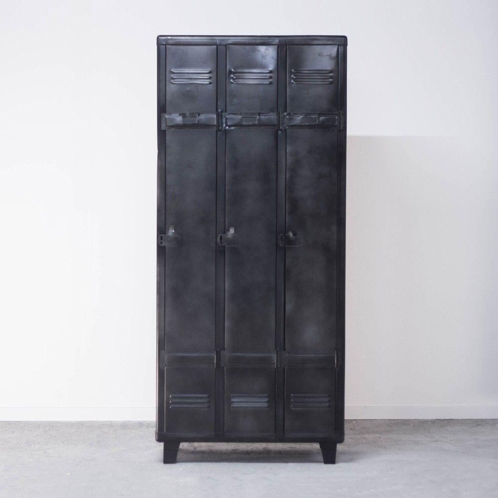 Meuble D Atelier Industriel 3 Casiers En Metal Gris Noir Esprit Usine Casier Mobilier De Salon Meuble