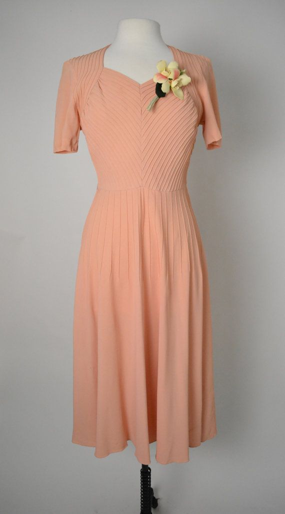 Vintage 1940s 40s Crepe Dress Sweetheart by littlestarsvintage