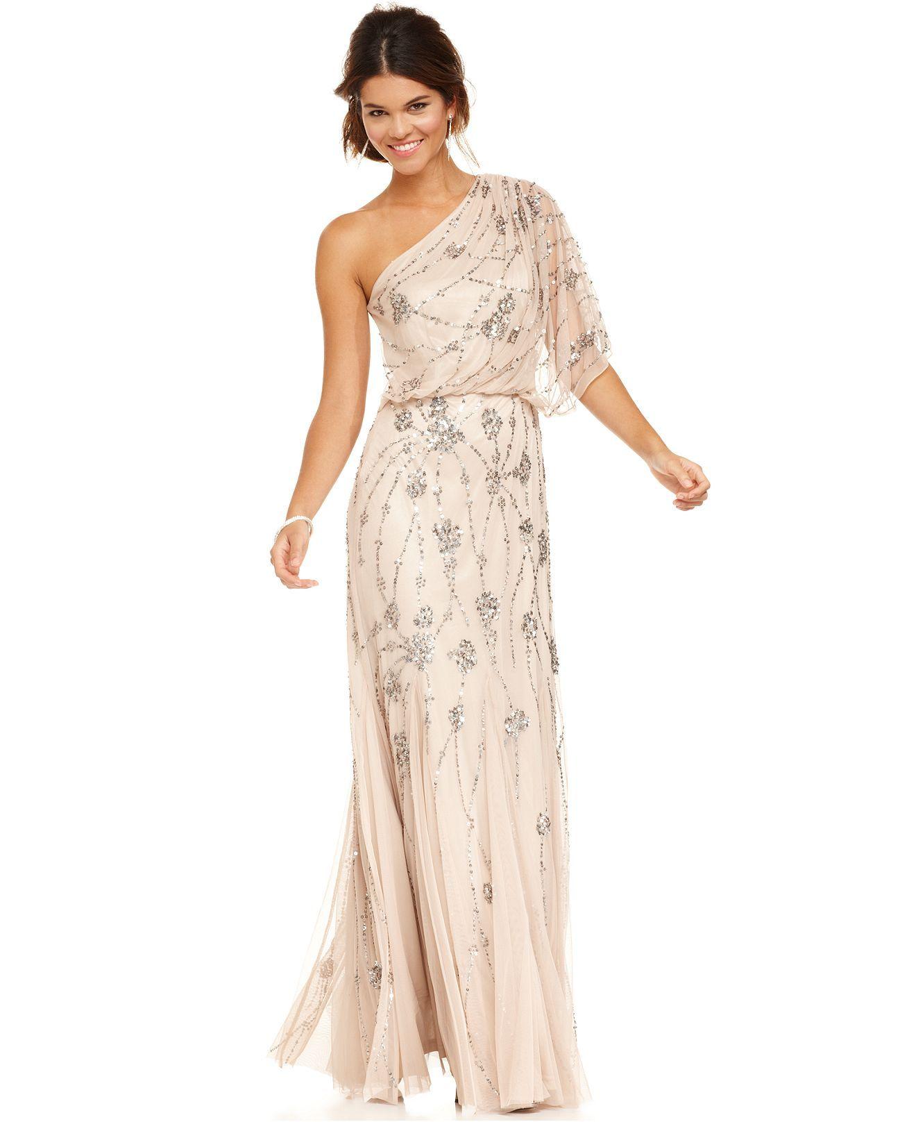 Adrianna papell dress shortsleeve oneshoulder beaded