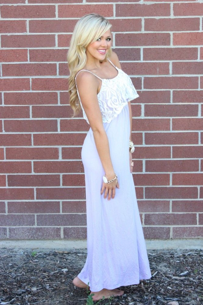 Modern Vintage Boutique - White Lace Ruffle and Light Lavender Maxi Dress, $52.00 (http://www.modernvintageboutique.com/white-lace-ruffle-and-light-lavender-maxi-dress.html)