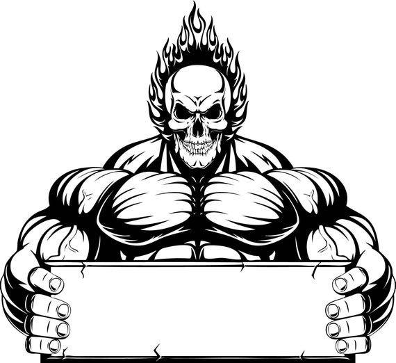 Bodybuilder 5 Muscle Banner Skull Fire Fit Weightlifting Etsy Art Logo Bodybuilding Logo Skull Fire