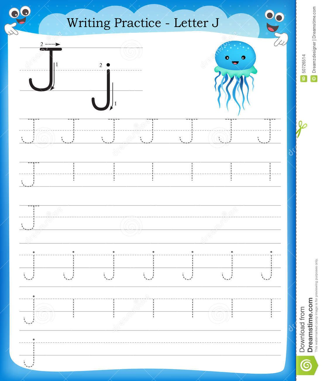 Illustration About Writing Practice Letter J Printable