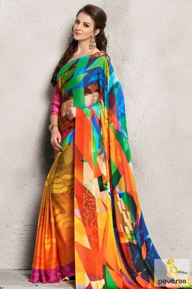 459a8337d2d55e Multi gold shaded silk saree in India. Exclusive new fashion mix printed  saree gives you
