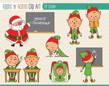 Elf School Clip Art Color And Outlines Clip Art Elf Writing Art