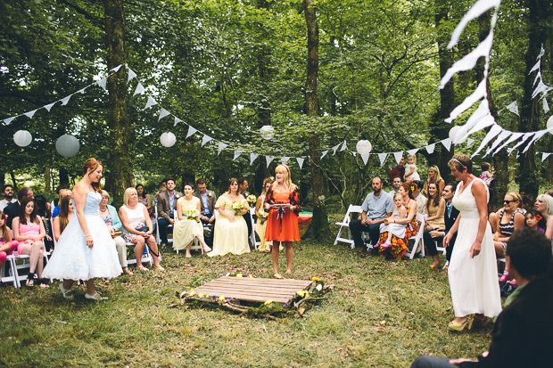 Outdoor Woods Wedding Ceremony: Festival Fun In The Woods - Sophie & Claire