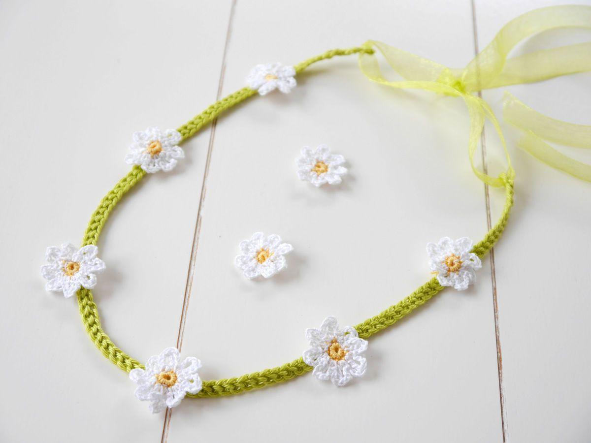 141) Haarband (Blumenkranz) Gänseblümchen selbst häkeln - ganz ...
