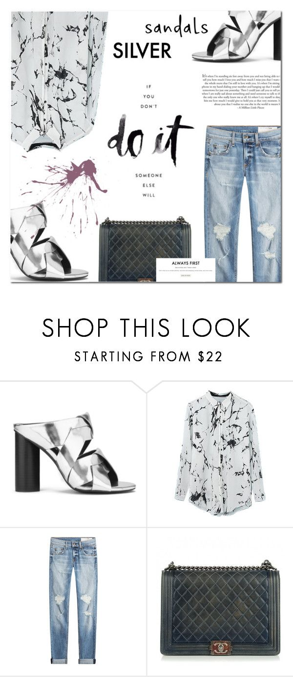 """""""Silver Sandals on the street"""" by makeupgoddess ❤ liked on Polyvore featuring Senso, rag & bone, Chanel and Gianvito Rossi"""