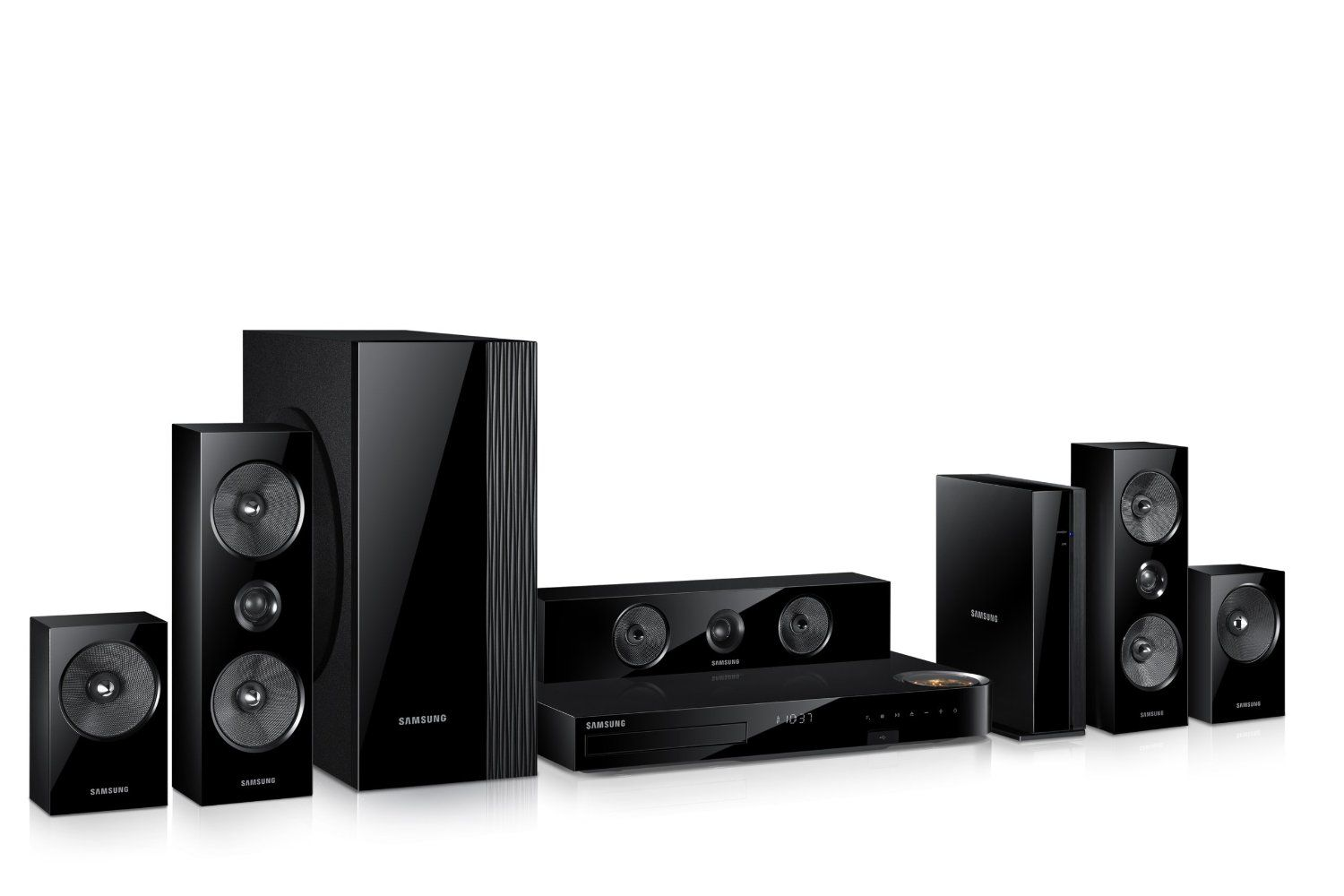 Samsung 5.1 Home Theater System. Surround sound sytem that connects to HDTV. You can also connect to Bluetooth devices, iPods etc. and browse the web. Also connects to streaming service like Netflix and Hulu. #DadTech #Tech