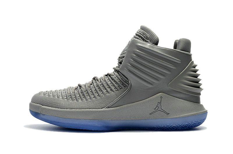 Shop Air Jordan 32 XXXII High Retro All Silver Blue Size 9.5