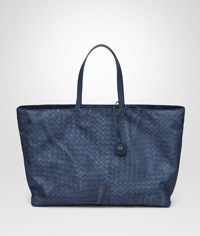 c2af03ddff99 BOTTEGA VENETA tote bag in navy blue - pacific intrecciolusion top handle  bag - perfect for the beach