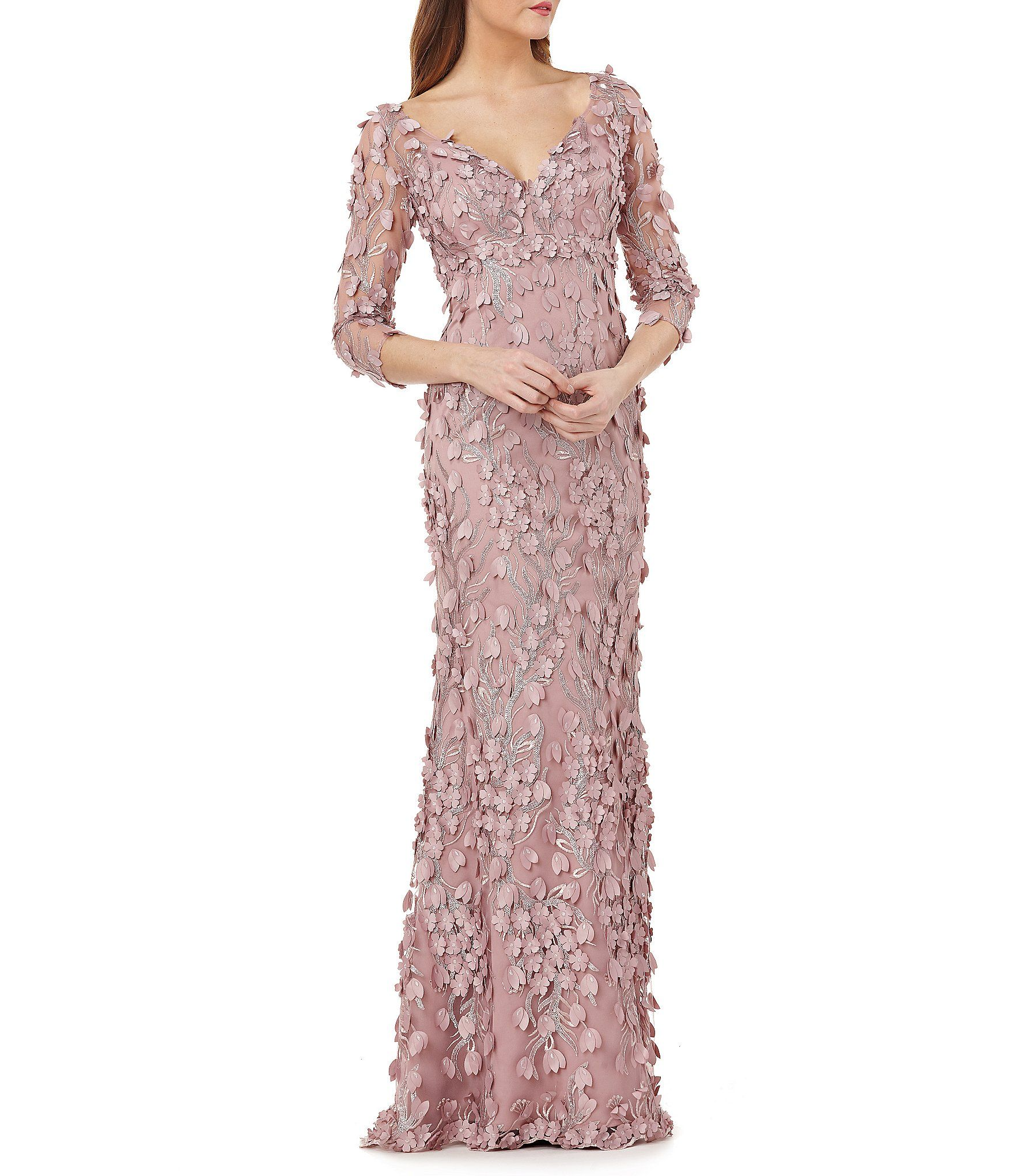 b313226cf8 Shop for Carmen Marc Valvo Infusion V Neck Fleurette Gown at Dillards.com.  Visit Dillards.com to find clothing, accessories, shoes, cosmetics & more.  The ...