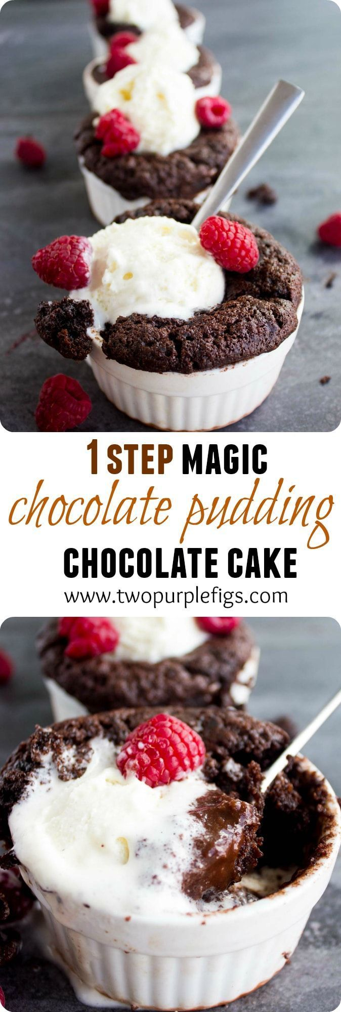Chocolate Pudding Cakes | These individual Self-Saucing Mini Chocolate Pudding Cakes are the perfect quick and easy dessert for guests!  As they bake, the cake batter rises to the top creating layers of moist cake and saucy intense chocolate pudding! |  via @twopurplefigs