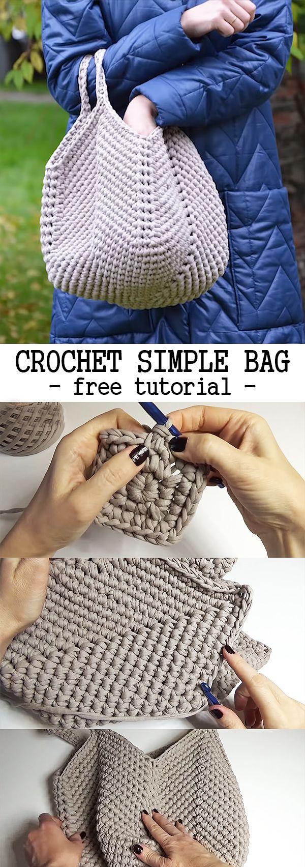 Crochet Simple Bag - CROCHET-HUB #crochethandbags