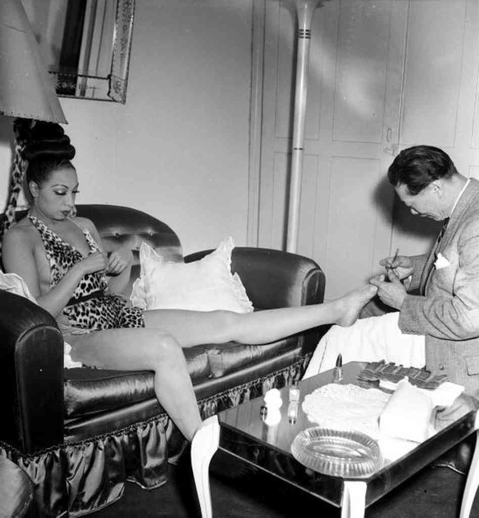 Josephine Baker getting a pedicure, 1960