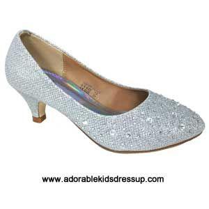 girls high heel shoes silver pumps