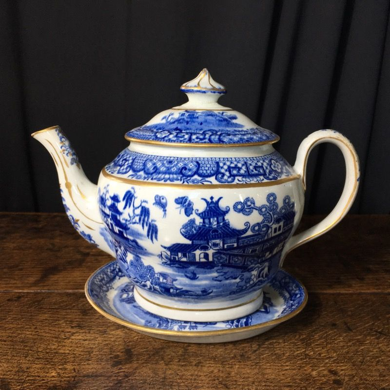 Newhall hard paste teapot & stand, two moths pattern, c.1800  Tea pots, Blue teapot, China patterns