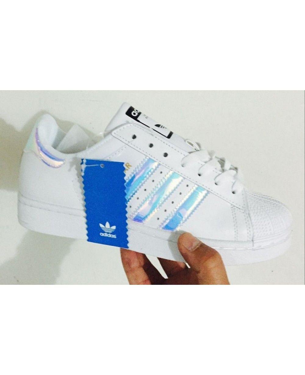 adidas superstar ologramma iridescente bianco