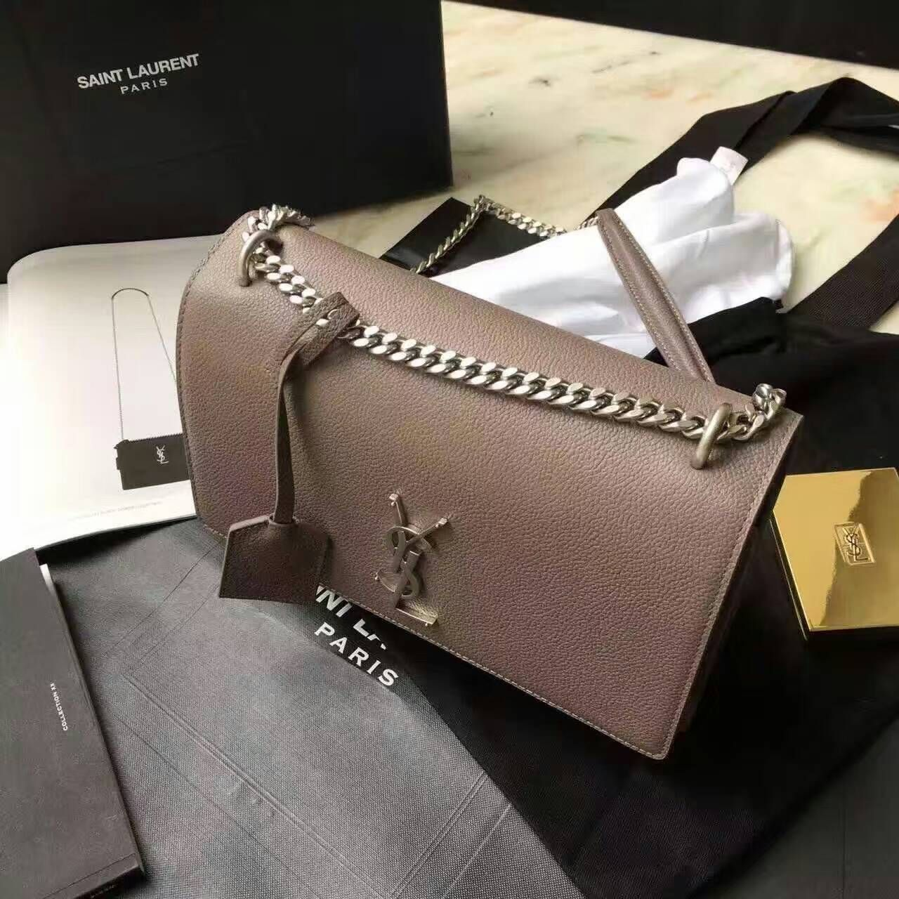 864ac090ae08 Limited Edition!2016 Saint Laurent Bags Cheap Sale-Saint Laurent Medium  Sunset Monogram Bag in Taupe Grained Leather