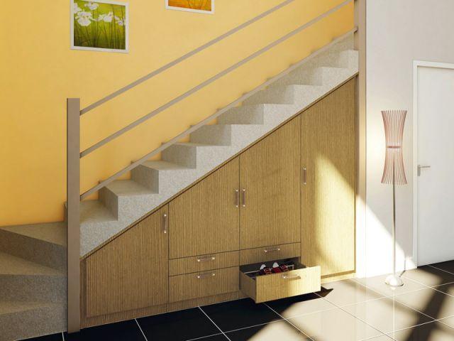 dix solutions pour am nager l 39 espace sous l 39 escalier rangement placard placard et sous escalier. Black Bedroom Furniture Sets. Home Design Ideas